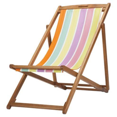 Tesco Bright Stripe Wooden Deckchair | Garden | Pinterest