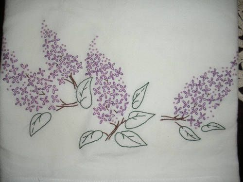 Lilac Towel Set Needlework Hand Embroidery Diy Embroidery Patterns Needlework Crafts