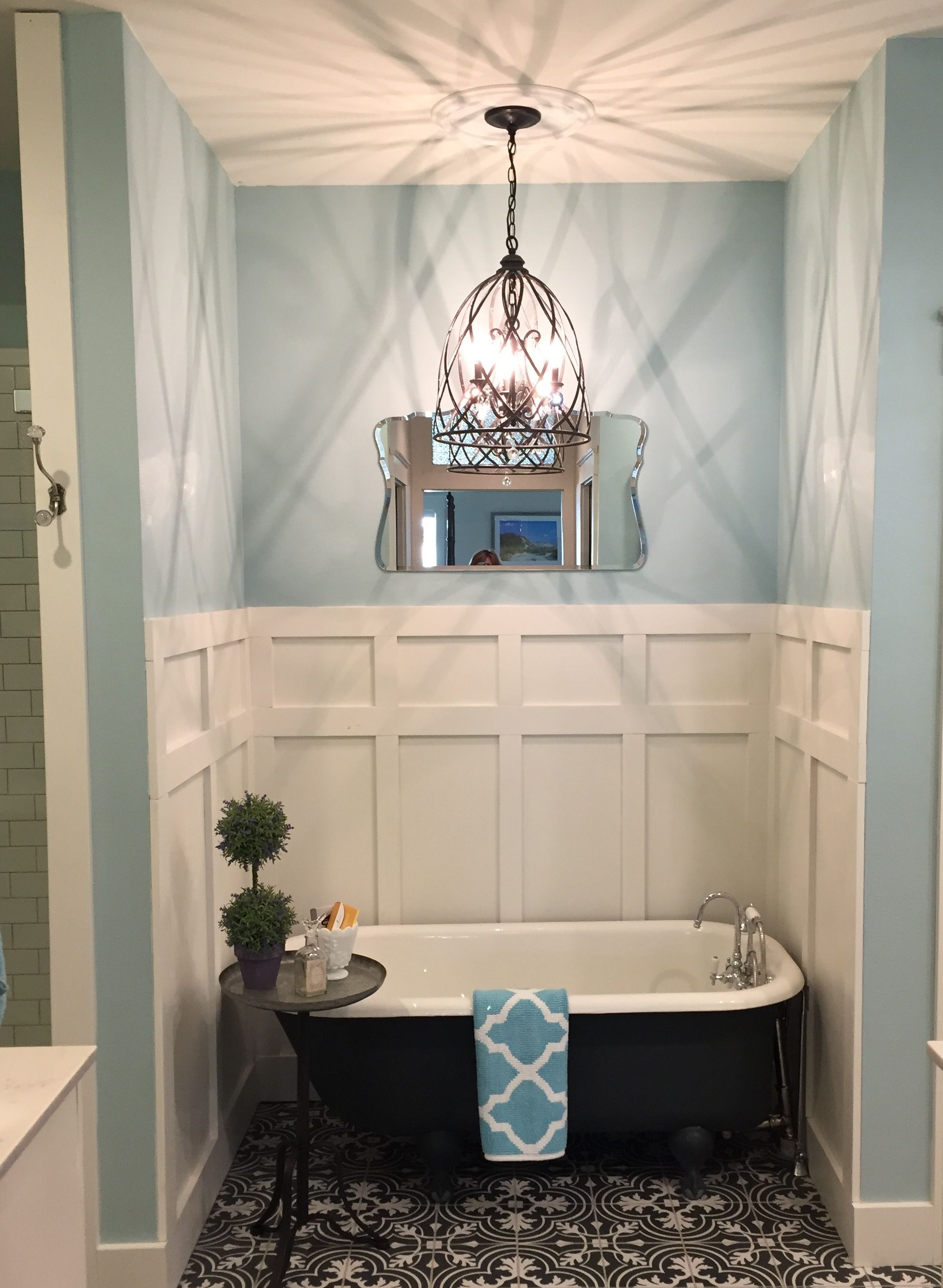 Refinished Claw Foot Tub Cement Tiles Wrought Iron Light Fixture Board Batten Master B Clawfoot Tub Bathroom Wrought Iron Light Fixtures Rustic Bathrooms