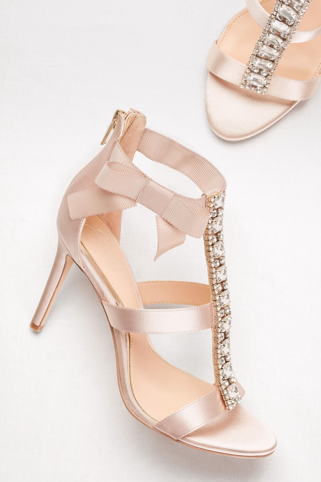 Embellished TStrap Heels with Grosgrain Bow Bridal