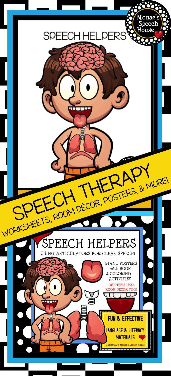 Coloring activities speech therapy - Speech Helpers Poster Worksheets Speech Therapy Speech Room Decor
