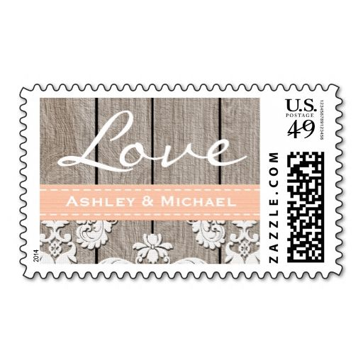 Peach Washed Coral Rustic Wood Lace Love Wedding Postage. This great business card design is available for customization. All text style, colors, sizes can be modified to fit your needs. Just click the image to learn more!
