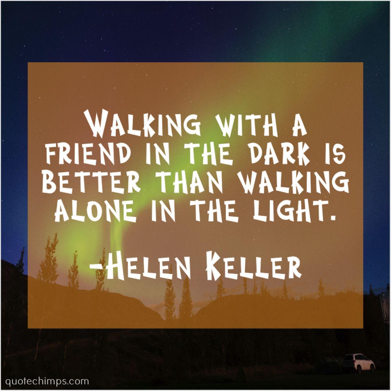Helen Keller Walking With A Friend In