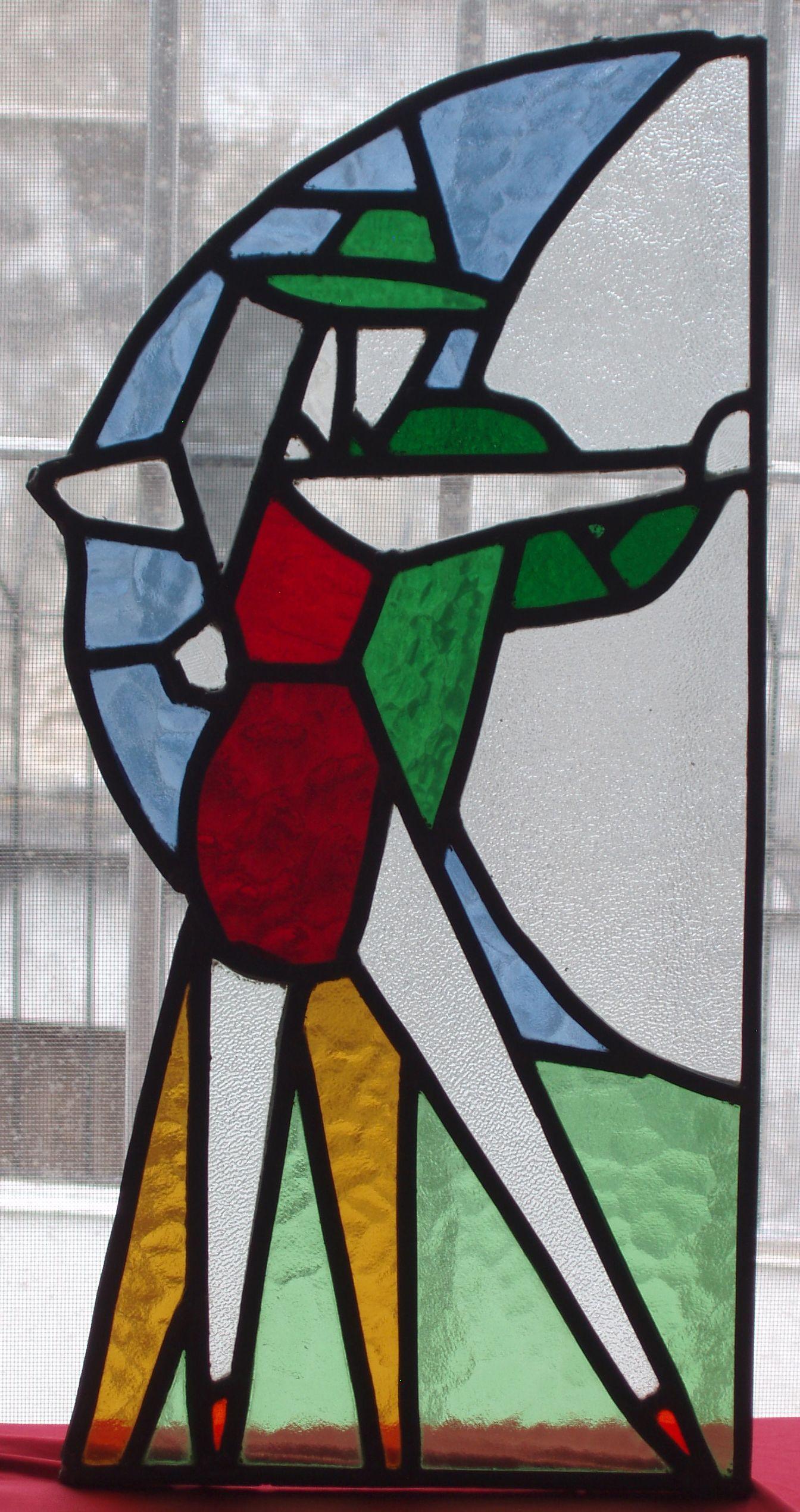 vitral emplomado con vidrios de colores
