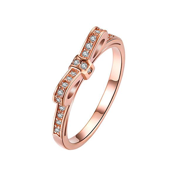 Golden NYC Rose Gold Raised Bow ChannelSet Ring With Swarovski