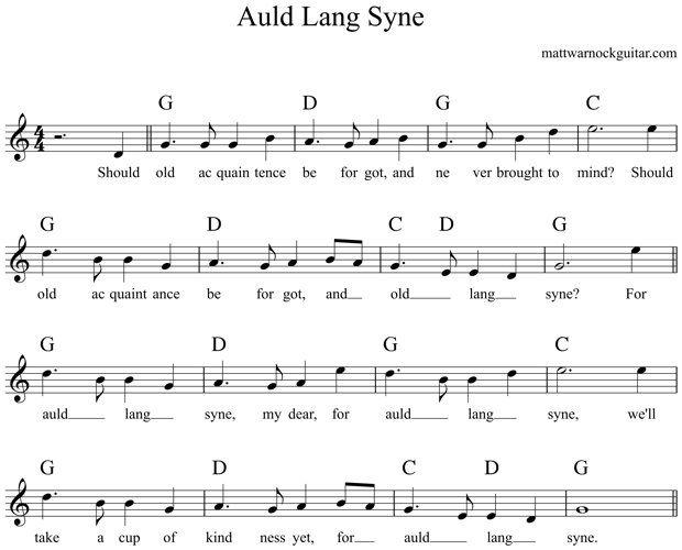 Auld Lang Syne Guitar Chords 1 Guitar Pinterest Guitar Chords