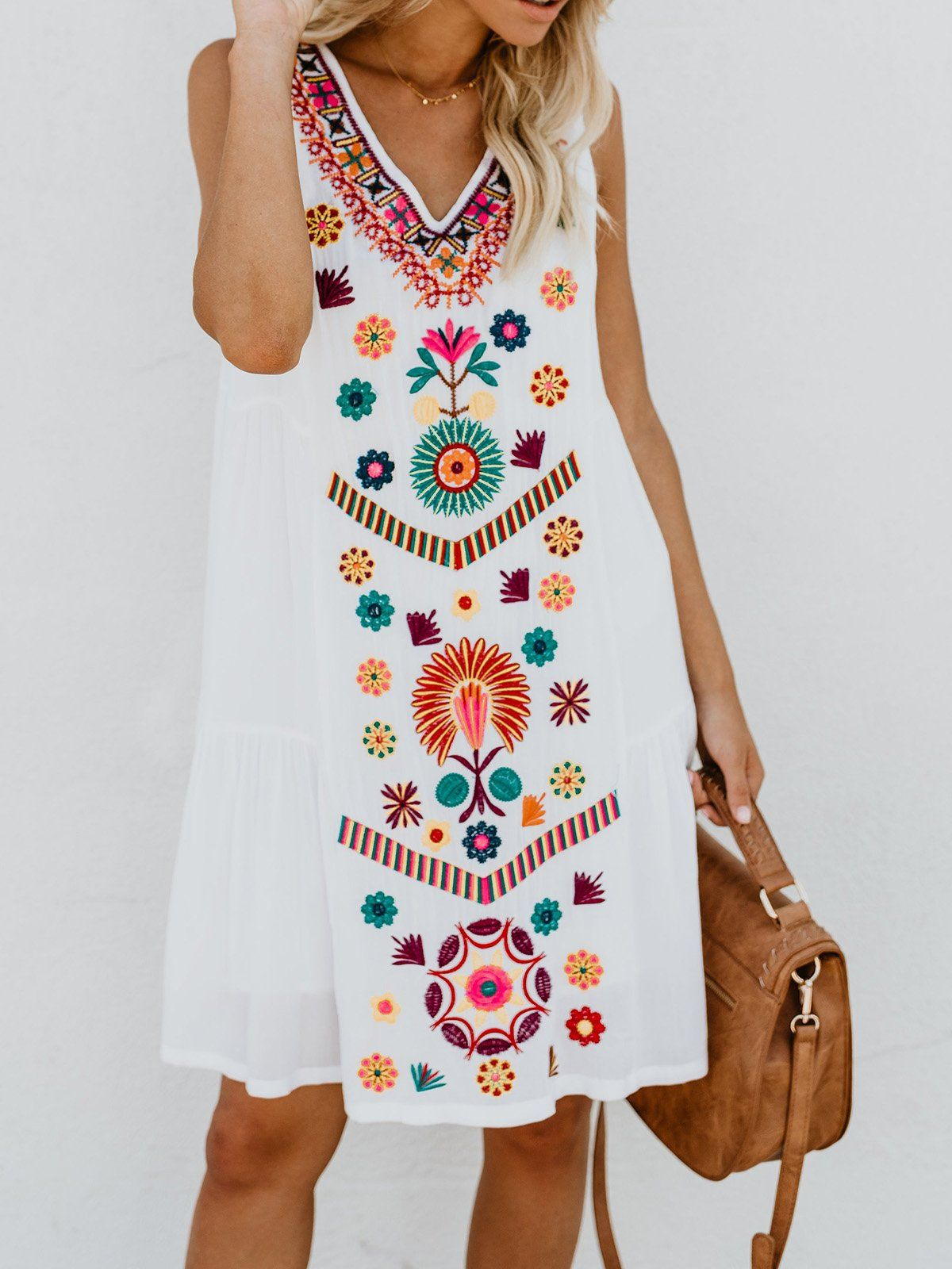 Plus Size White Rayon Floral Casual Summer Mini Dress Summer Dresses For Women Plus Size Outfits Floral Dress Summer [ 1600 x 1200 Pixel ]