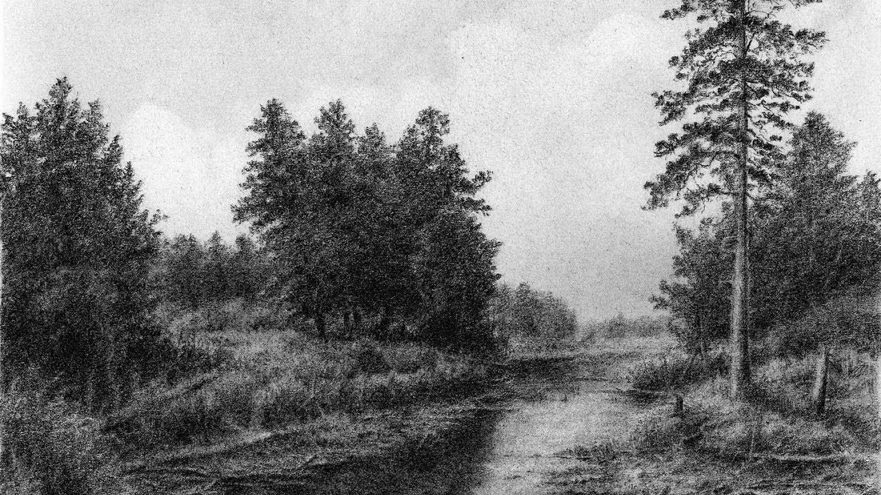 Drawing pencil how to draw a landscape with trees and a