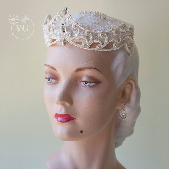 Wedding Crown Headpiece 40s WWII Era French by GuldenBrownGowns