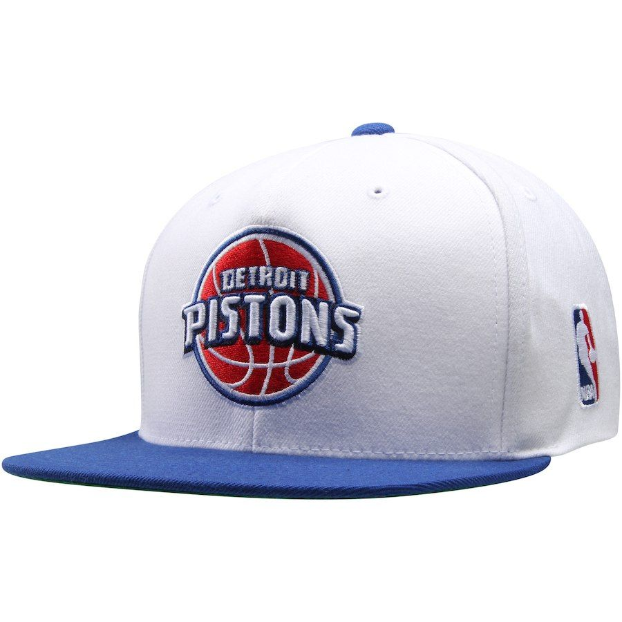 db754d6c0ed Men s Detroit Pistons Mitchell   Ness White Current XL Logo 2-Tone  Adjustable Hat