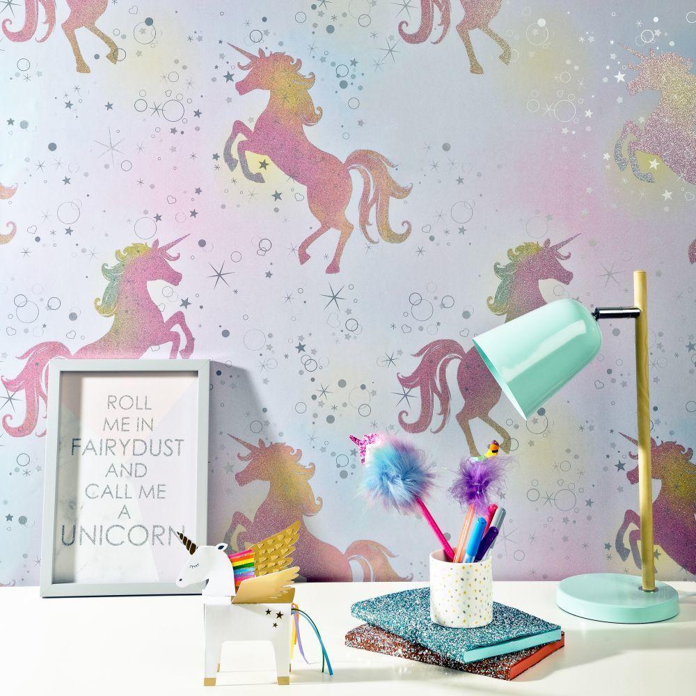 Dancing unicorns glitter Playroom wallpaper, Rainbow