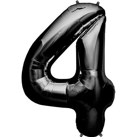 Ballon Anniversaire Chiffre 4 Noir 90 Cm Balloons Number Balloons Mylar Balloons