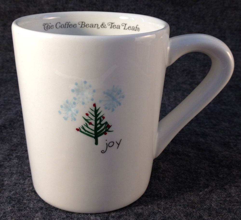 Coffee Bean Amp Tea Leaf Coffee Cup Mug Joy White W Christmas Tree Snow Rare Htf Tea Leaves Coffee Beans Coffee Cups