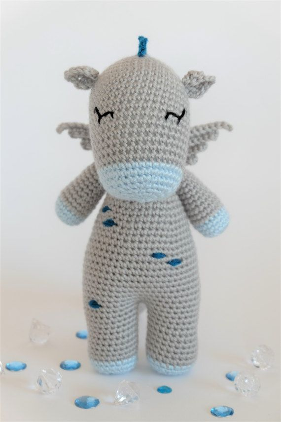 Crochet Amigurumi Button the Dragon Stuffed Animal PDF PATTERN ...