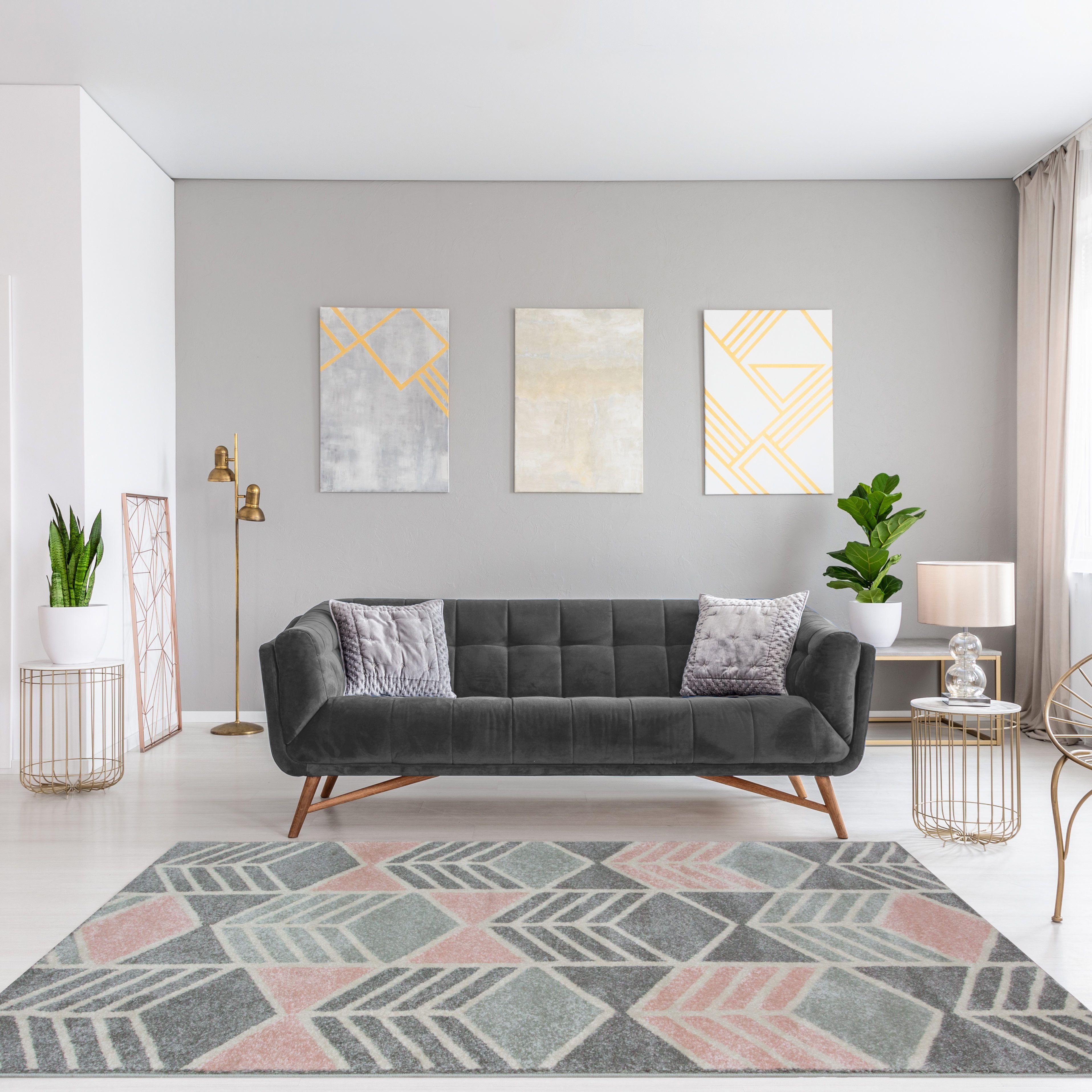 21++ Grey and pink living room rug information