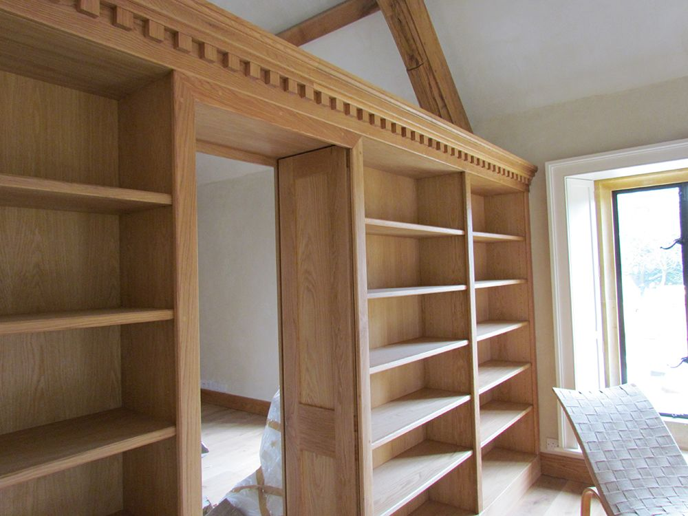 Lovely Doors To Separate Two Rooms Part - 5: Oak Bookcase With Panelled Doors Separating Two Rooms
