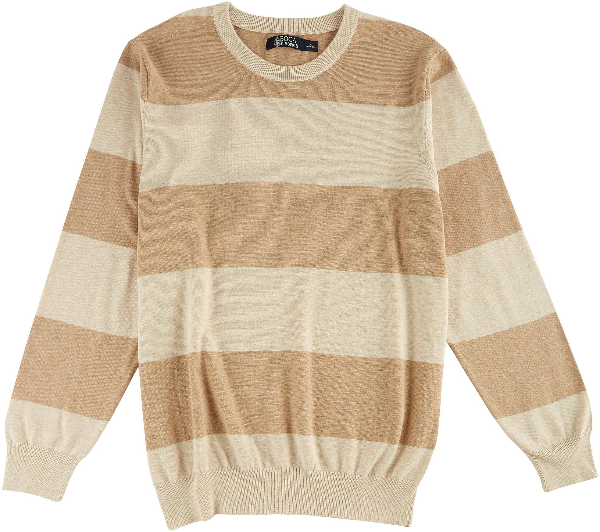 Boca Classics Mens Oatmeal Heather Striped Sweater XX-Large ...