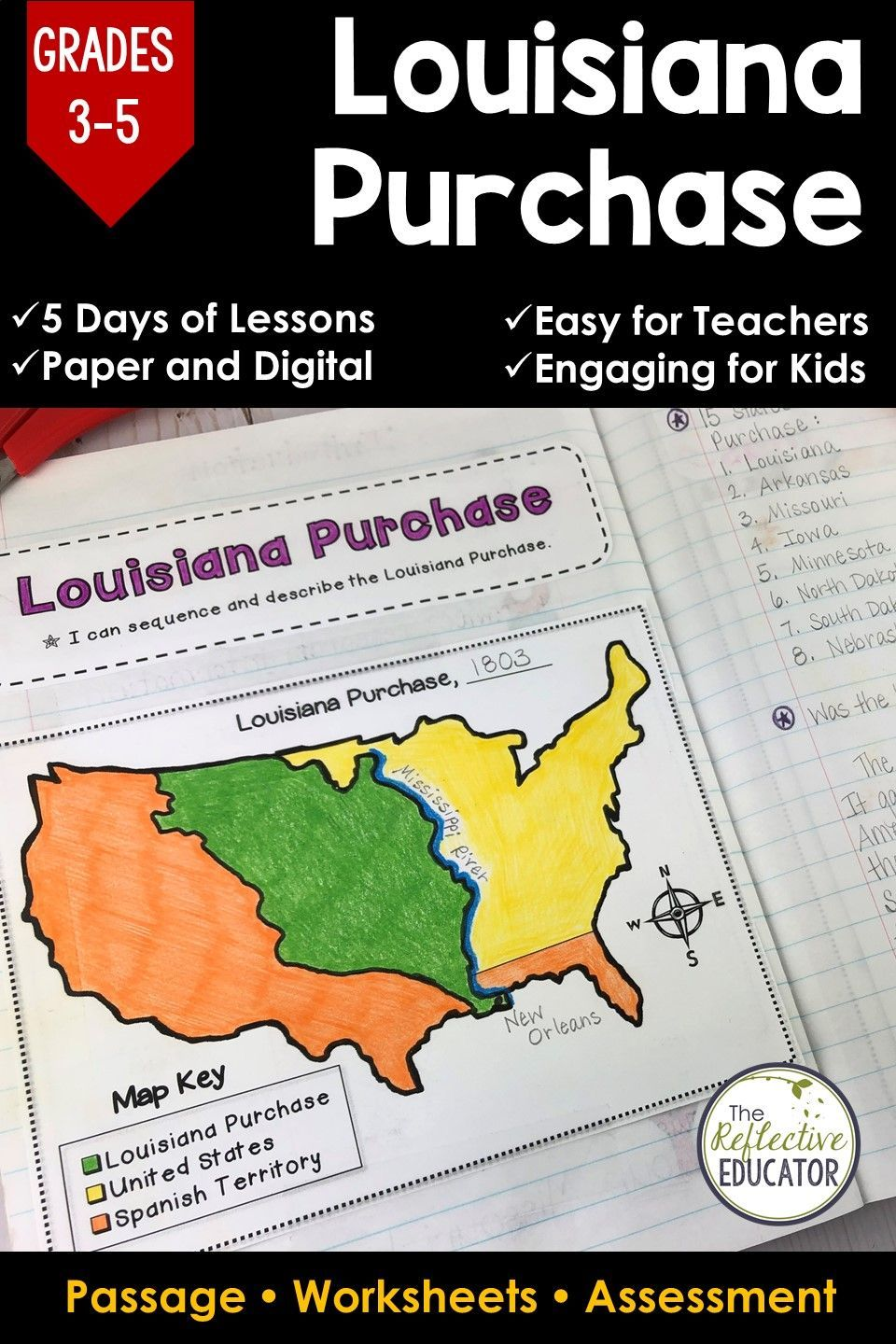 Louisiana Purchase Westward Expansion Google Classroom Distance Learning Social Studies Worksheets Engaging Lesson Plans Reading Comprehension Worksheets