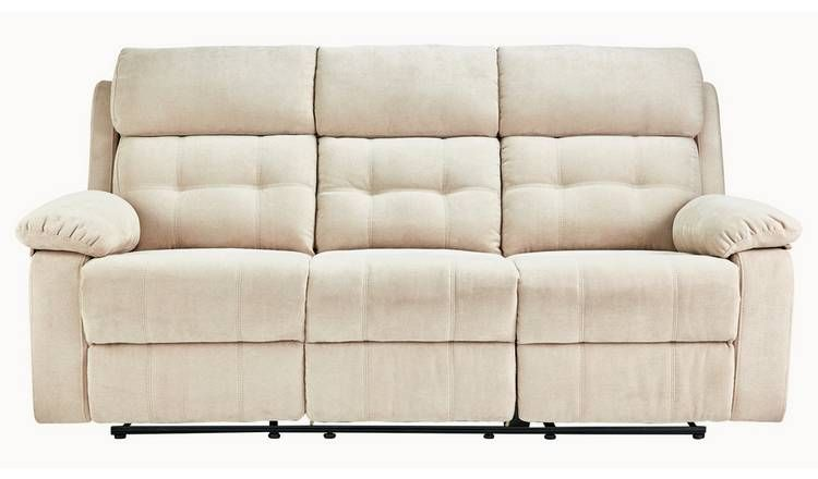 Tremendous Buy Argos Home June 3 Seater Fabric Recliner Sofa Natural Download Free Architecture Designs Terstmadebymaigaardcom