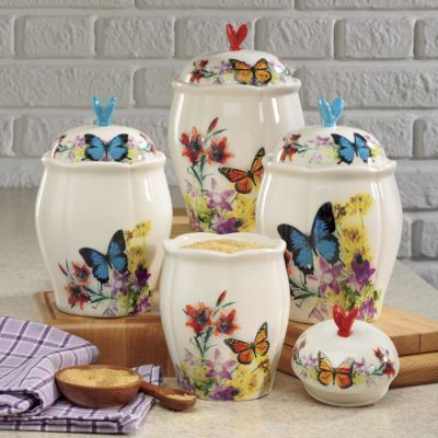 4 Piece Butterfly Canister Set Ceramic Canister Set Butterfly Decorations Ceramic Canisters