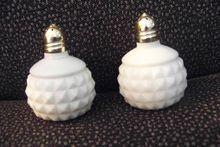Miniature Diamond Point Milk Glass Salt & Pepper Shakers