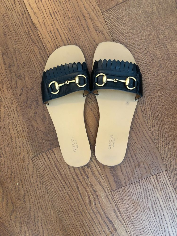13492a560f6 Gucci women s black leather with fringe horsebit slide  fashion  clothing   shoes  accessories  womensshoes  sandals (ebay link)