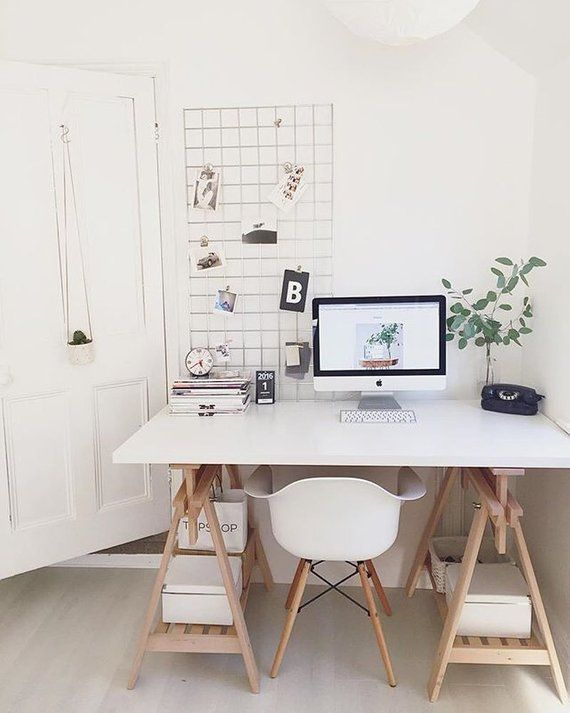 Photo of White wire wall grid, + SHELF, + CLIPS, mood board, photo frame, wall grid, print …