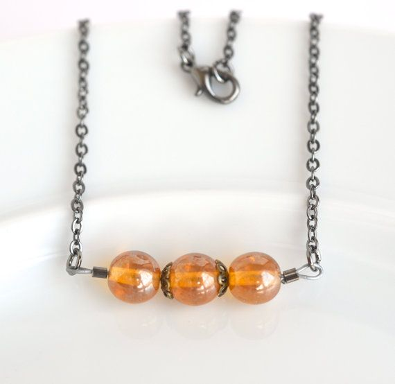 Glass bead necklace topaz bead necklace by izabellahansendesign