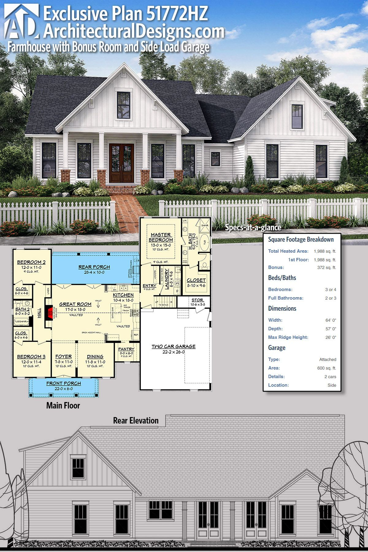 Exclusive farmhouse with bonus room and side load garage plan 51772hz gives you just under 2000 square feet of heated living space plus a bonus room over