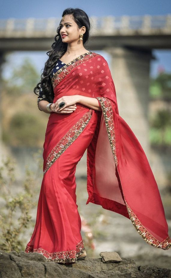 b336b8548c8 Red Ruby Silk Chiffon Saree with Gold Sequin Embroidery