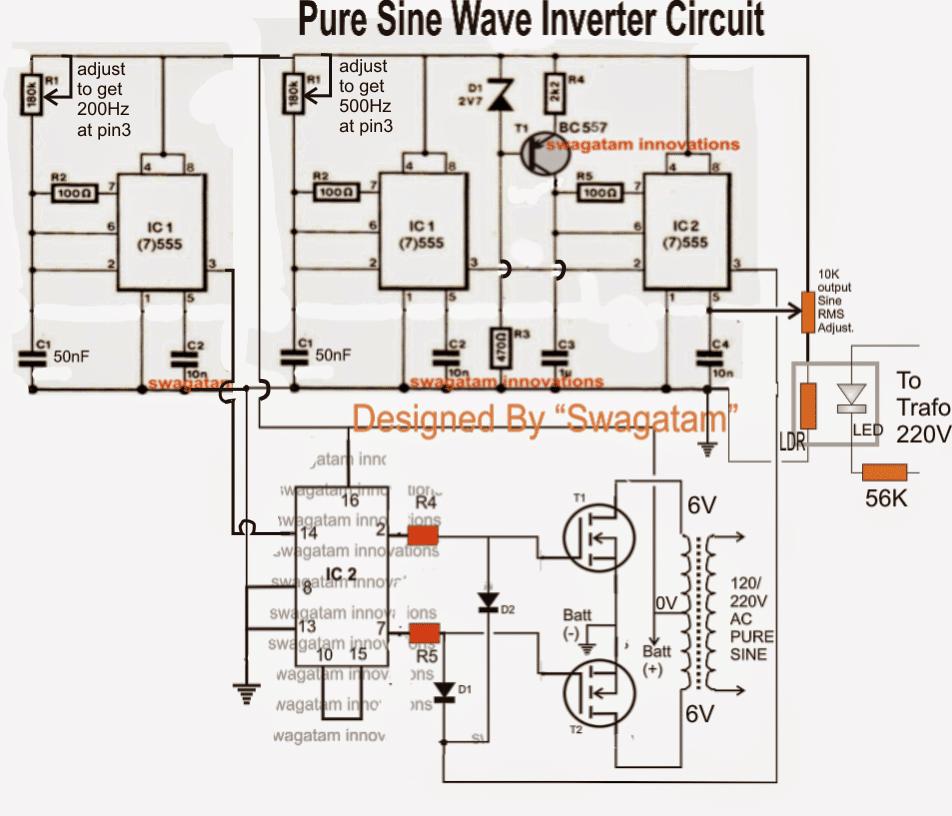 IC 556 Pure Sine Wave Inverter Circuit   Homemade Circuit