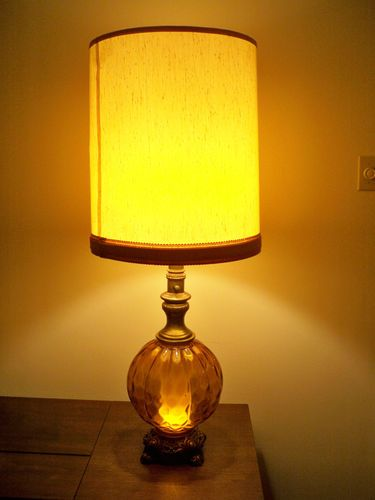 Vintage Mid Century Modern Amber Table Lamp With Night Light In Base Globe
