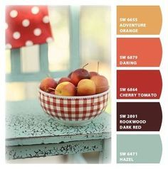 Paint colors from Chip It! by Sherwin-Williams ~ Adventure Orange,Daring, Cherry Tomato, Rookwood Dark Red and Hazel