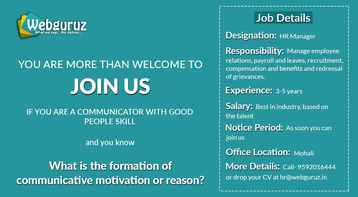 We are hiring! Webguruz is offering you to work with one