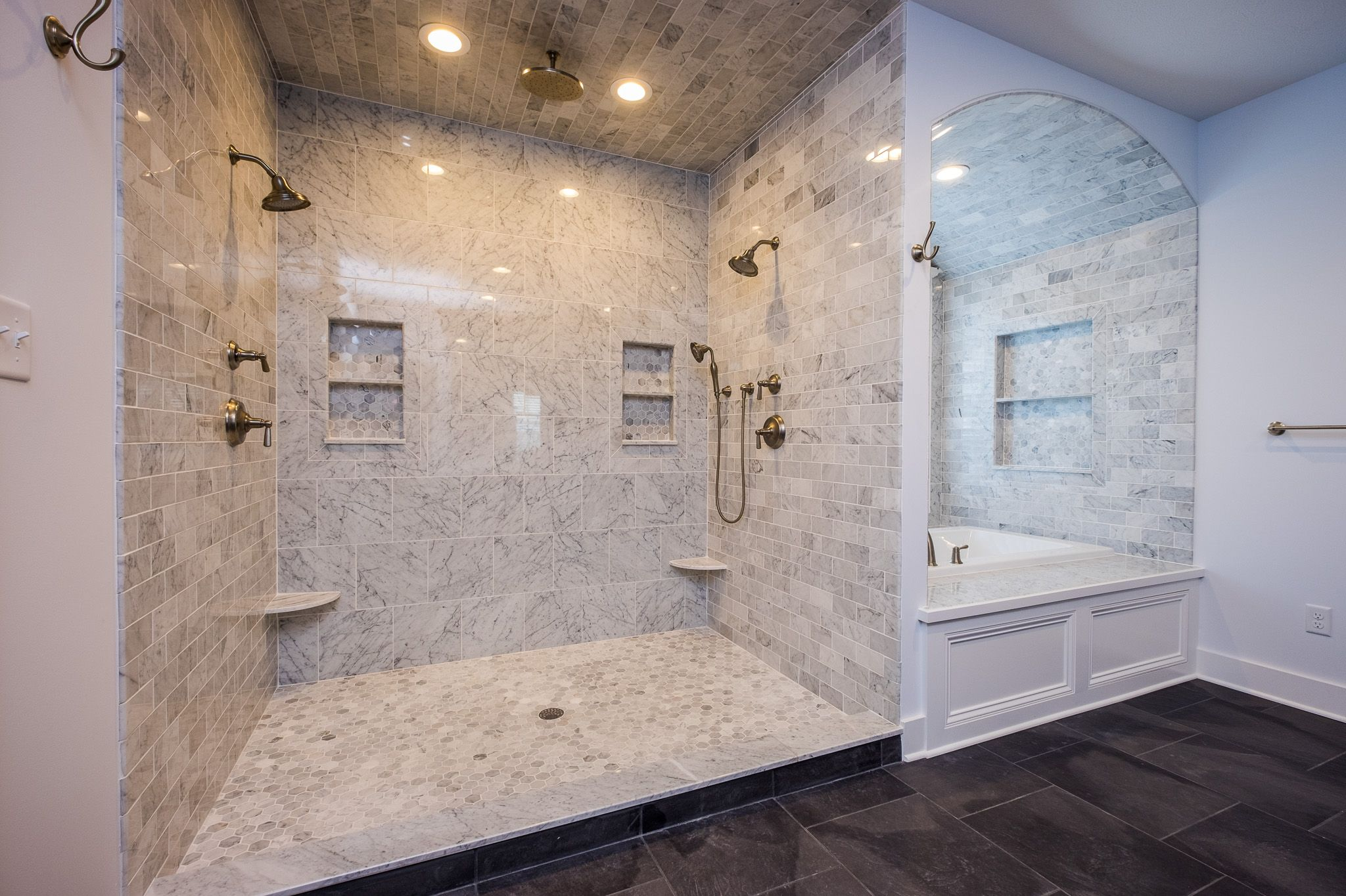 Shower Envy Gorgeous White And Grey Tile Master Bath Tile Shower