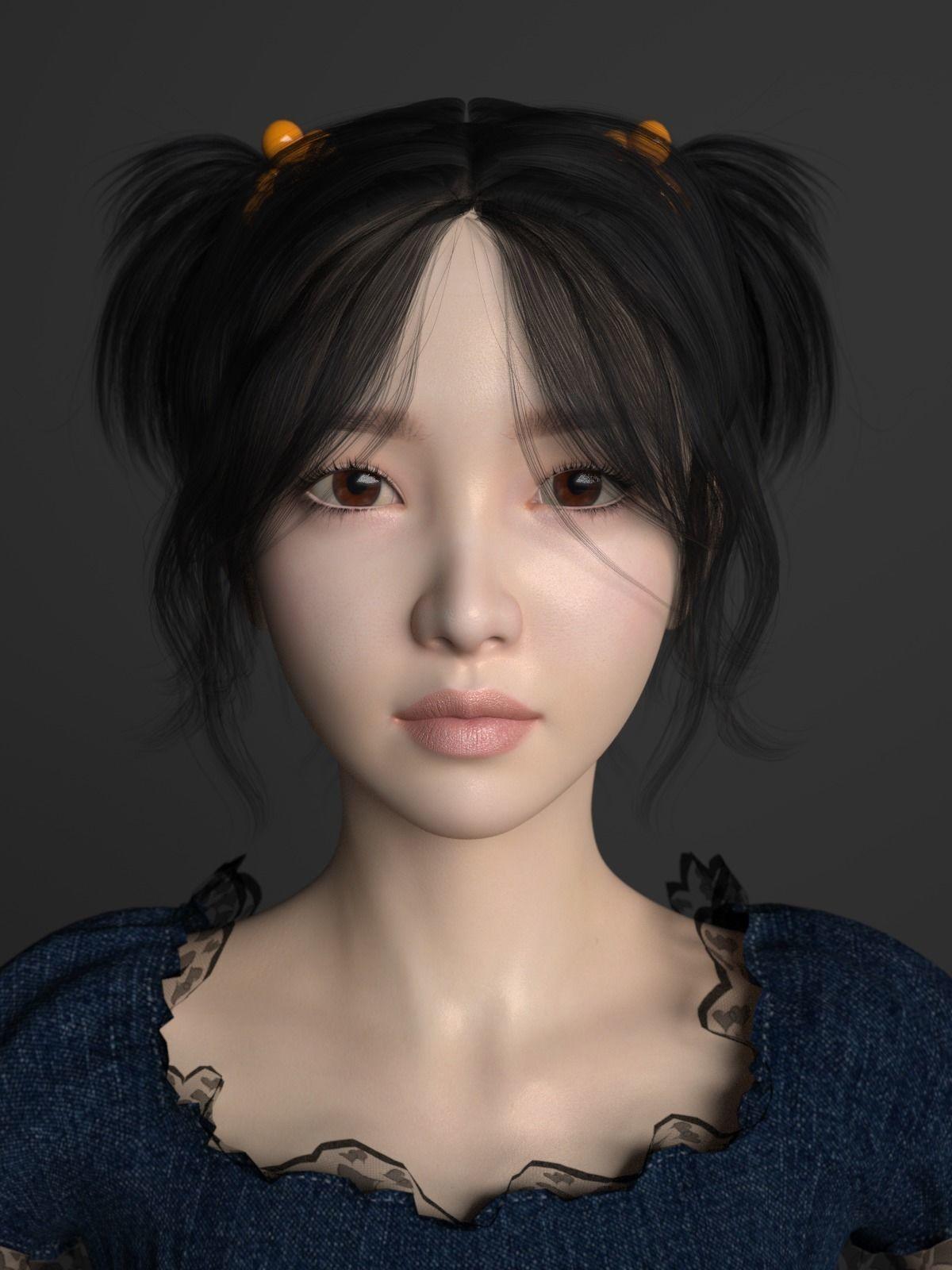 asian beautiful girl 3d model obj fbx ma mb mtl 1