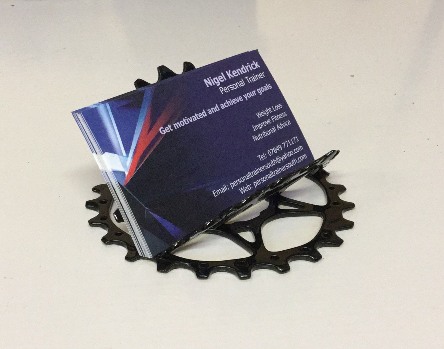 Business card holder upcycled bike chainring bicycle shop cafe business card holder upcycled bike chainring bicycle shop cafe office by customradical on etsy magicingreecefo Gallery