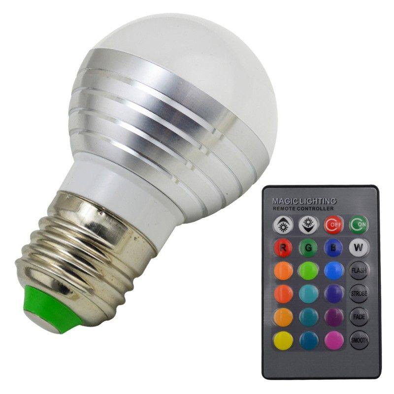 3w Rgb Led Magic Light Bulb Lamp 24key Ir Remote Control Colors Change New Hot Smart Home Illumin Spotlight Bulbs Commercial Lighting Decorative Night Lights