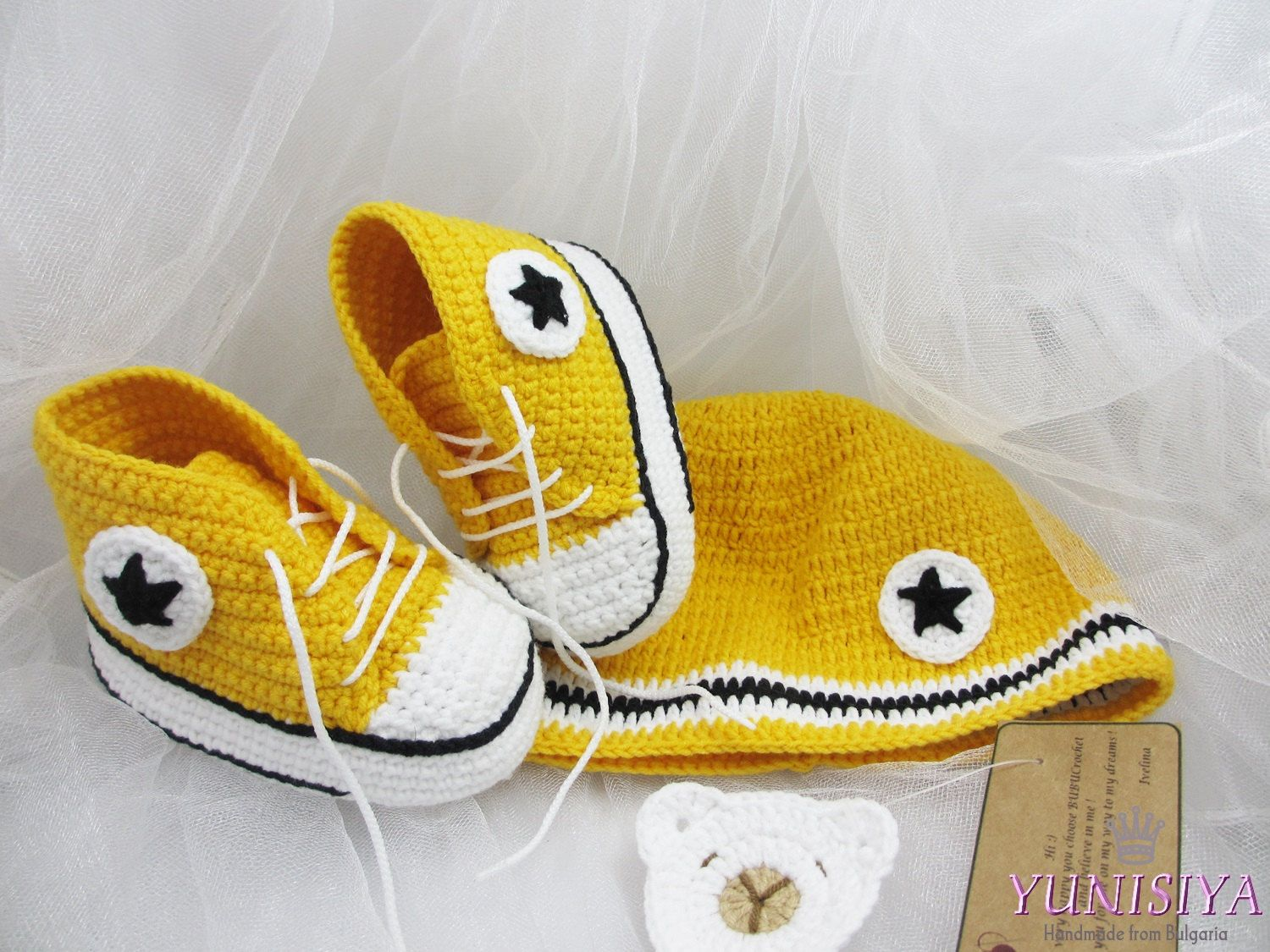 Crochet Baby Set Yellow Baby Set Converse Baby Shoes Yellow Baby Hat ...
