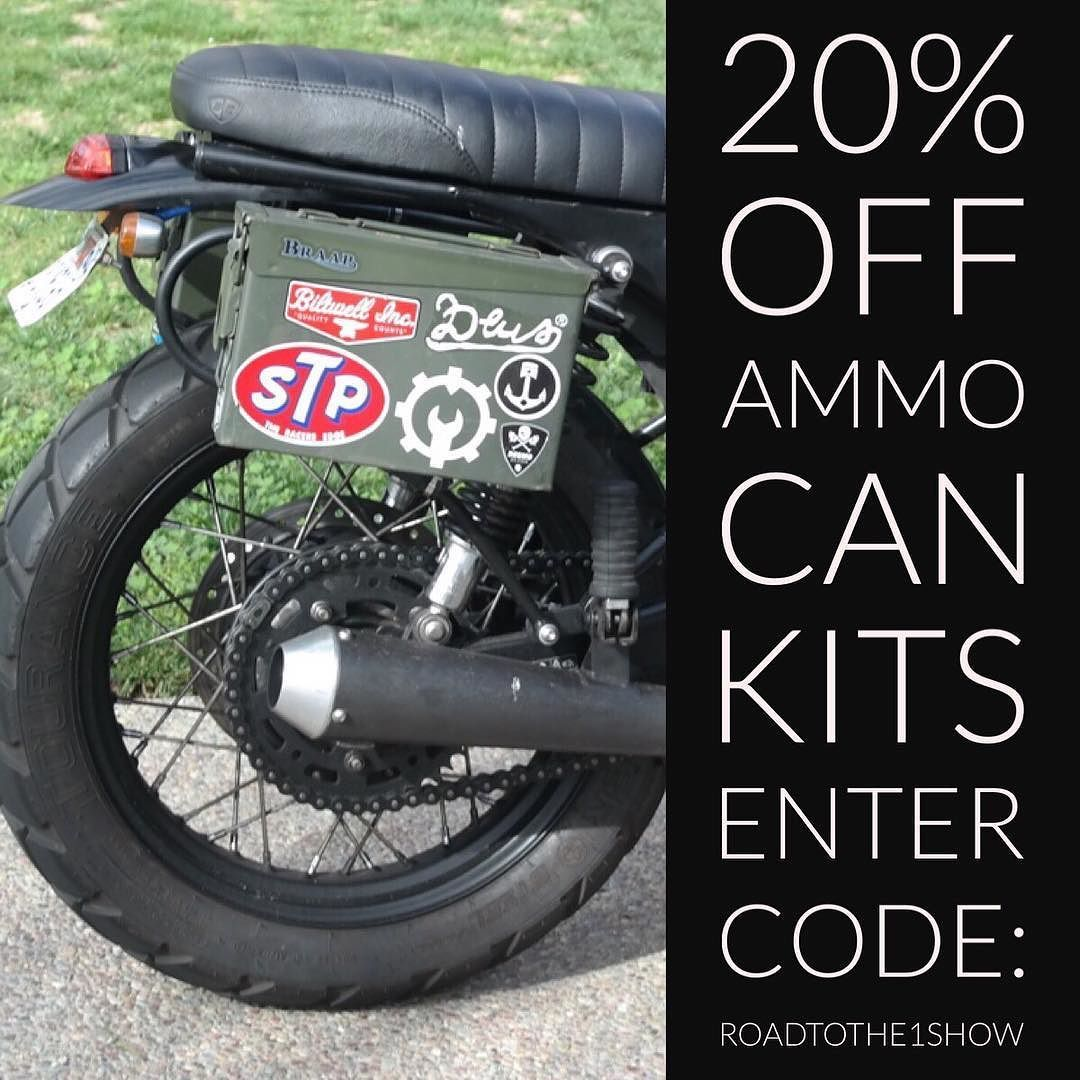 In honor of all those planning to roll to The 1 Show were running a 20% sale on Ammo Can Kits to help carry your gear.  Enter Code: RoadToThe1Show  @the1moto #journey #justgo #getlost #bonneville #triumph #ammocans  http://ift.tt/1kwMg87