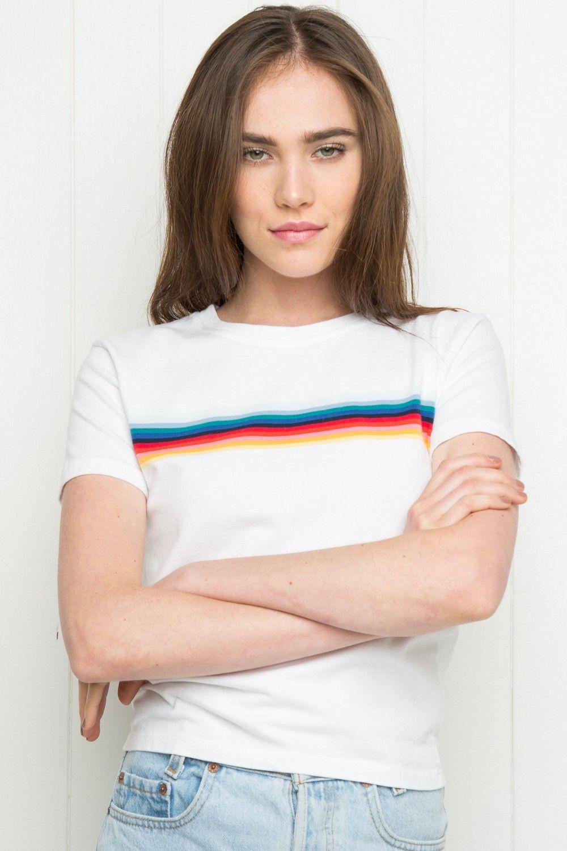 Brandy ♥ Melville   Jamie Rainbow Top - Tees - Tops - Clothing