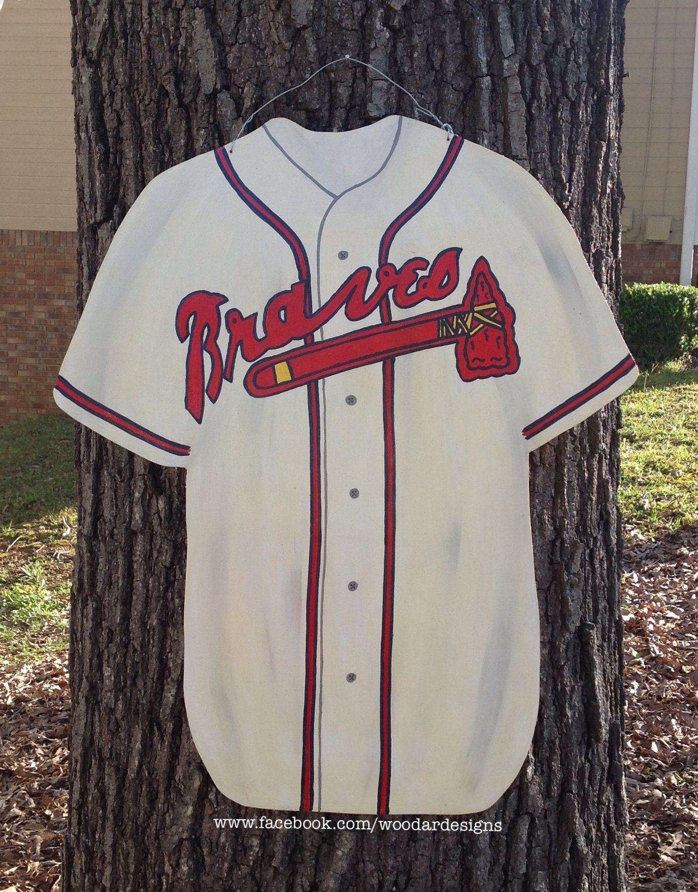 Atlanta Braves Baseball Jersey Wooden Door Hanger Www Facebook Com Woodardesigns Wooden Door Hangers Door Hangers Burlap Door Hangers