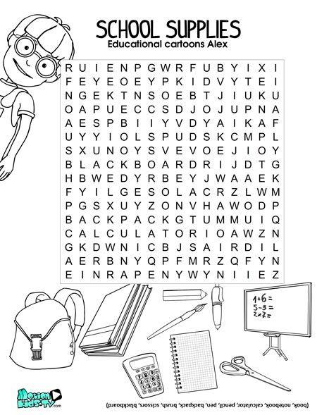 Sopa de letras para aprender material escolar en ingles : ingles ...