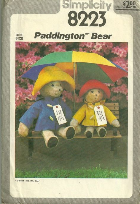 1970s Paddington Bear and Bear Clothes Sewing Pattern Simplicity ...