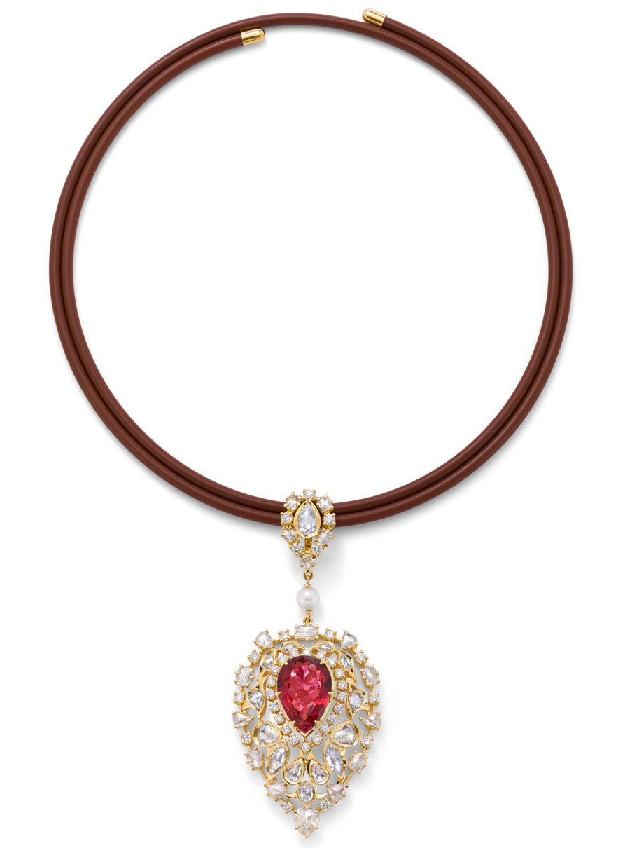 Ganjamus pendant from their nizam collection with rubelites and