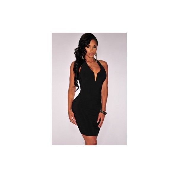 Black Knotted Low Back Halter Dress ❤ liked on Polyvore featuring dresses, low back halter dress, kohl dresses, knot dress, black dress and halter neckline dress