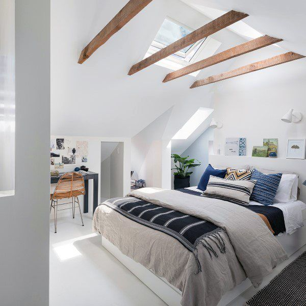 60 coole attische Schlafzimmer-Ideen – aufgestiegene schlafende Viertel - Mann Stil | Tattoo