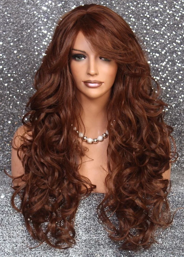 Auburn Silk Top Remi Remy Full Lace Human Hair Replacement Loss Wig