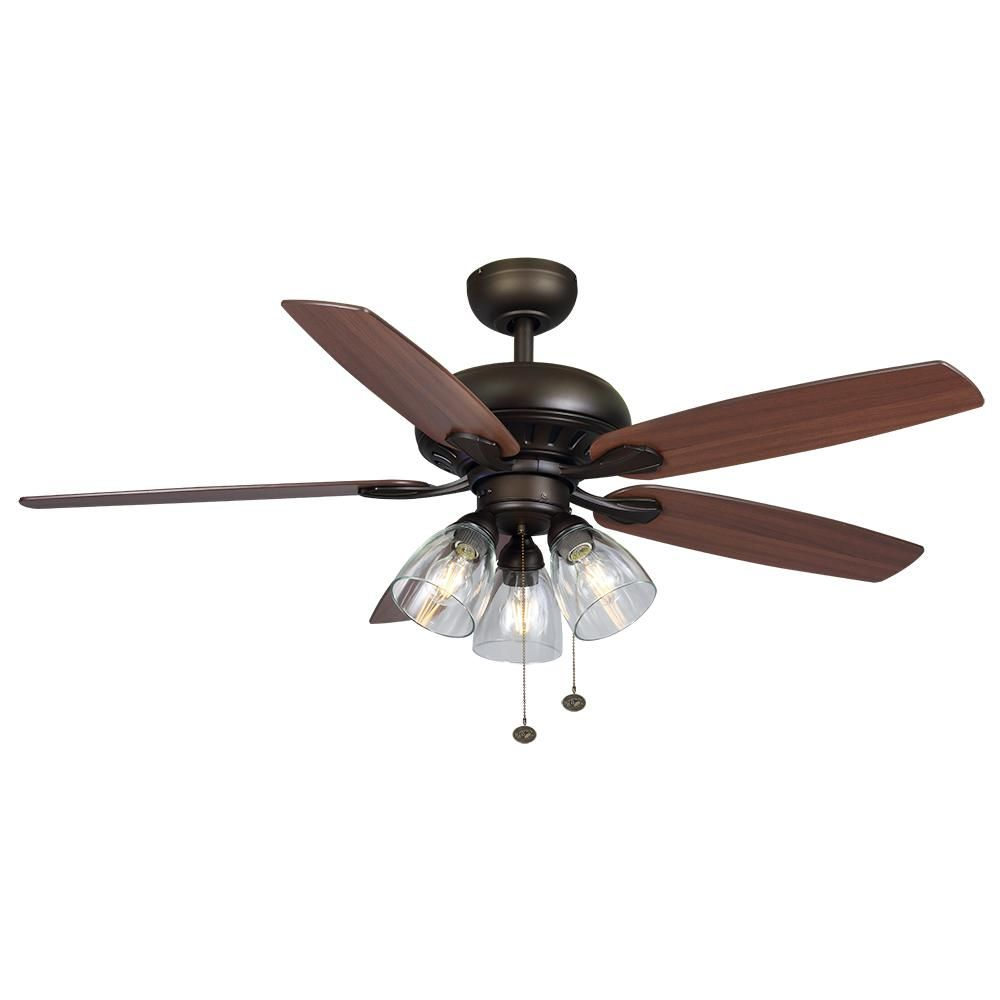 Hampton Bay Rockport 52 In Bronze Led Ceiling Fan With Light Kit 91851 The Home Depot Ceiling Fan Ceiling Fan With Light Led Ceiling Fan