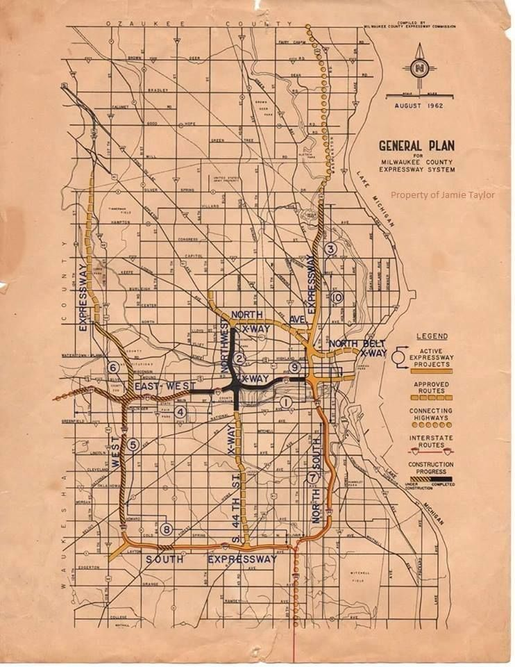1962 Milwaukee Expressway plan map. Much of the proposed was ...